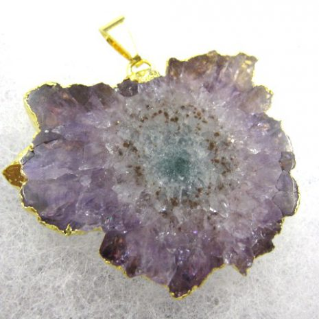 Genuine Fossil Amethyst Gold Plated Pendant