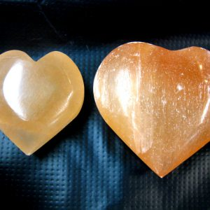 Small & Medium Orange Selenite Hearts